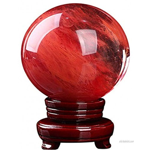 BeneCharm Red Crystal Ball with Stand 100mm Natural Crystal Ball Sphere Melting Quartz Crystal Gemstone for Meditation Healing Divination Sphere Home Decoration Fengshui