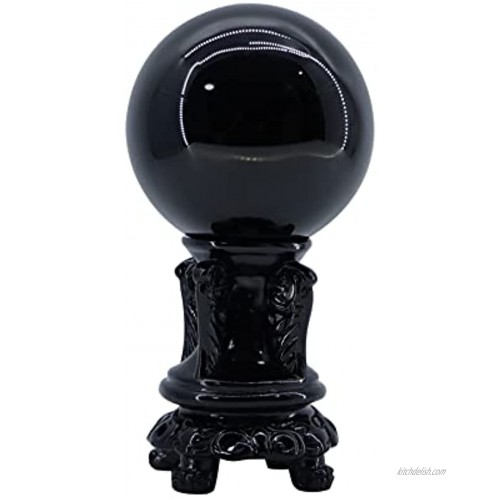 Black Obsidian Crystal Ball 3 inch 80 mm with Wooden Stand, Decorative Ball, Gazing Divination or Feng Shui and Fortune