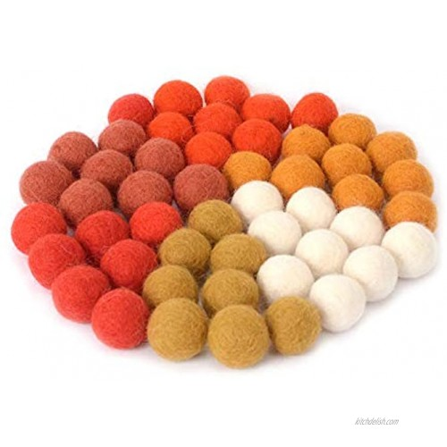Glaciart One Wool Felt Balls 50 Pieces 0.8 Inch 2cm 100% New Zealand Wool 6 Colors Rust Orange Mustard and More Hand-Felted in Nepal Halloween Party Decoration for Felting and Garland
