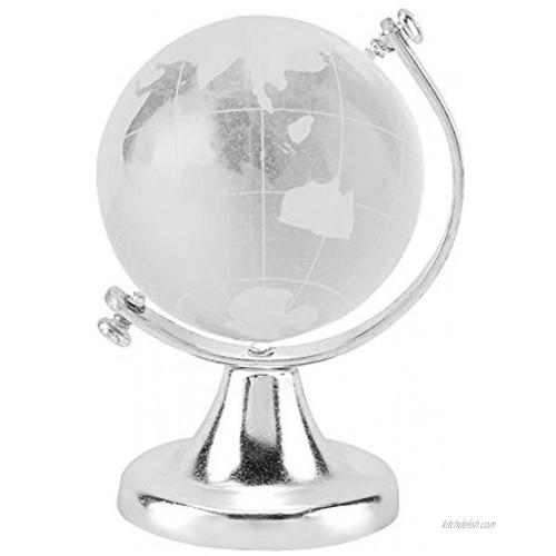 Mumusuki Round Earth Globe World Map Crystal Glass Ball Sphere Decoration Gift Home Office Classroom DecorSilver