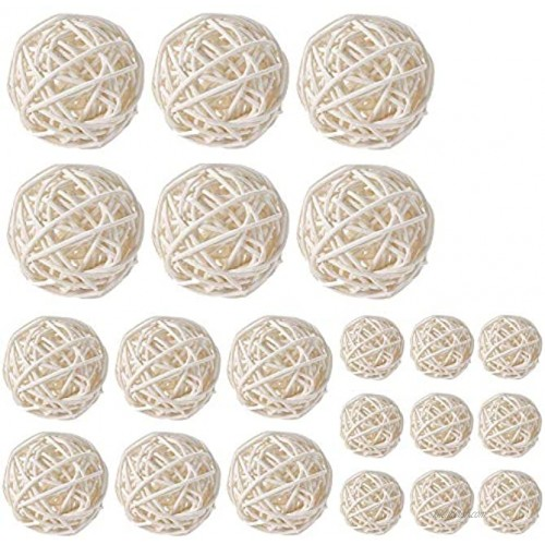 Worldoor Wicker Rattan Balls Bag Garden Wedding Party Decorative Crafts House Ornaments Vase Fillers Decorative Orbs Natural Spheres Christmas Tree. Set of 21. White