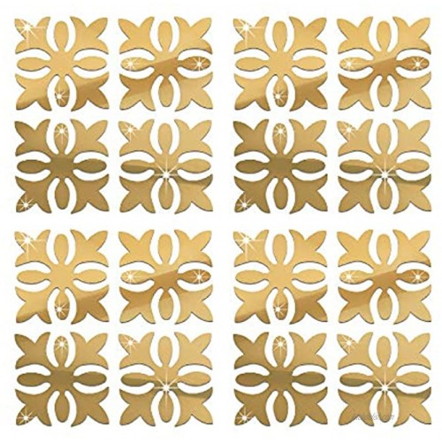 funlife Turkish Tile Decorative Pattern Flower Mirror PS Plastic Wall Stickers Non Glass DIY Vinyl Mirror for Furniture Cabinet Home Bedroom Decor 5.91 X 5.91 16 PCS Gold