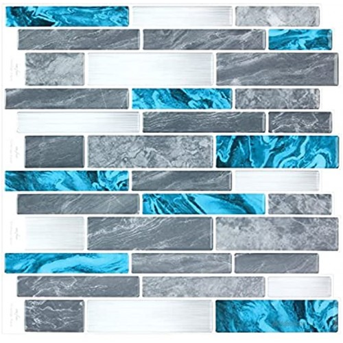 Peel and Stick Self-Adhesive DIY Back Splash Stick-on Vinyl Wall Tiles for Kitchen or Bathroom 12 X 12 Each 3D Mosaic Wall Tiles 8 Sheets Pack Blue Grey Marble Mix Stripe