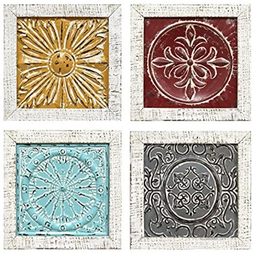 Stratton Home Decor S07709 Accent Tile Wall Art Set of 4 12.00 W x 1.00 D x 12.00 H Each Multi