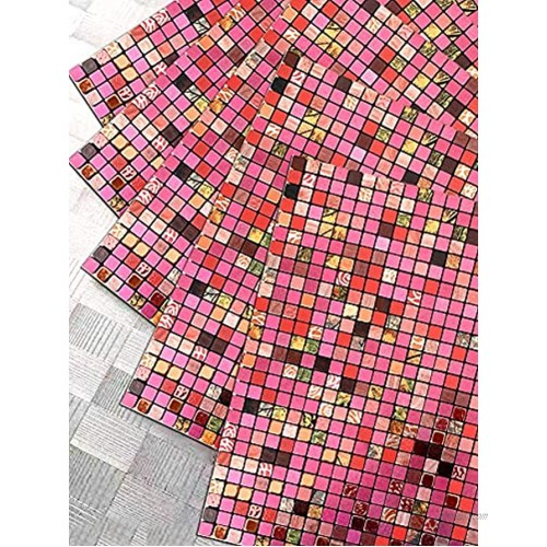 XUANINY Peel and Stick Backsplash Tiles for Kitchen Bathroom,Fireplace,Self Adhesive Metal Aluminum Mosaic 11.81x11.81 5 Rose red Mixed