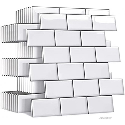 Yoillione Upgrade Thicker Peel and Stick Wall Tiles Backsplash for Kitchen and Bathroom Metro Subway Tiles Self Adhesive Tile Stickers 3D Stick on Tiles Splashback White 5 Sheets