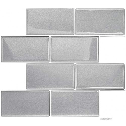 Yoillione Upgrade Thicker Peel and Stick Wall Tiles Stickers for Kitchen and Bathroom 3D Stick on Tiles Splashback Metro Subway Tiles Self Adhesive Wall Tiles Backsplash Silver 5 Sheets