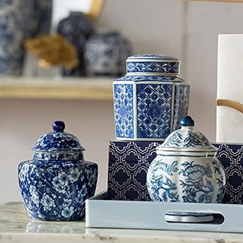 A&B Home 5 Decorative Porcelain Jars Set of 3 Glazed Hand Painted Blue White Ceramic Vase with Lid Centerpiece Ginger Jar Asian Décor