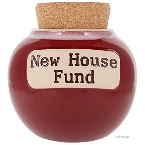 Cottage Creek New House Jar | House Savings Piggy Bank with Cork Lid | Our Future Fund | House Gifts [Red]