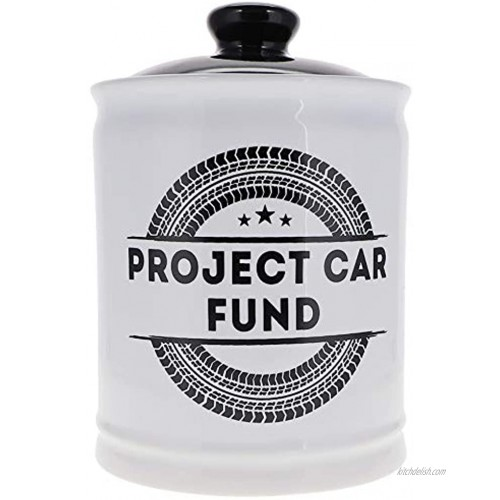 Cottage Creek Project Car Fund Jar | Auto Restoration Coin Bank with Removable Black Lid | Car Piggy Bank | Car Gift [White]