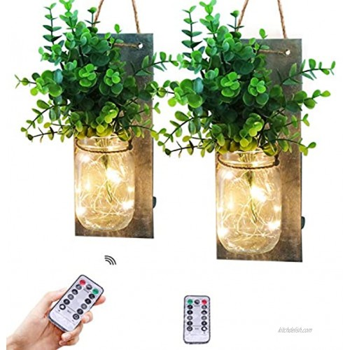 Fowecelt Rustic Mason Jar Wall Decor Sconces Handmade Wall Art Hanging Design with Remote Control LED Fairy Lights and Greenery Plant Farmhouse Kitchen Decorations Wall Decor Living Room Sconces