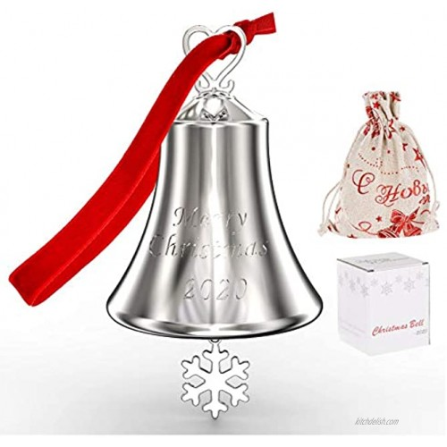 2020 Annual Christmas Bell Ornaments for Christmas Tree Decorations Ornament Bell Ornaments for Christmas Tree Hanging Bell Ornament with Red Tie Ribbon Engraved Christmas 2020 Annual Edition