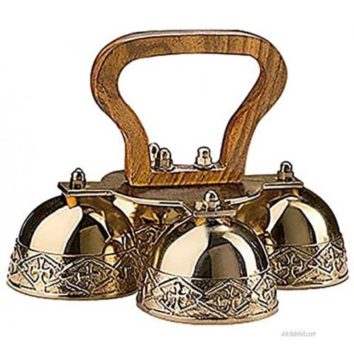 4-bell Embossed Brass Altar Bells