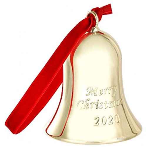 DAJAMAI Christmas Bell Ornament Engraved Merry Christmas 2020 Golden Bell Ornament for Holiday Metal Bell with Gift Box and Ribbon for Christmas Tree Decorations