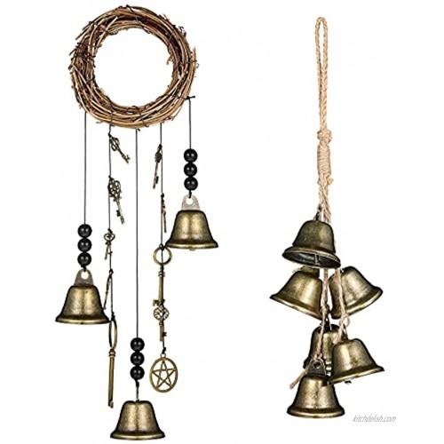 Siqueen 2 Pieces Witch Bells Protection Door Hanger Handmade Witch Bells Wiccan Magic Wind Chimes Wiccan Home Door Decor for Doorknob Witchcraft Supplies New Home Present Home Door Decor 2 Styles