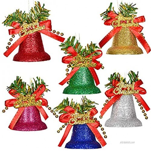 TOUTN Christmas Tree Ornament Bells Multi-Color Glitter Bells for Party Wall Fireplace Gardens Jingle Bell Pendants Xmas Home Decoration 6 Pack