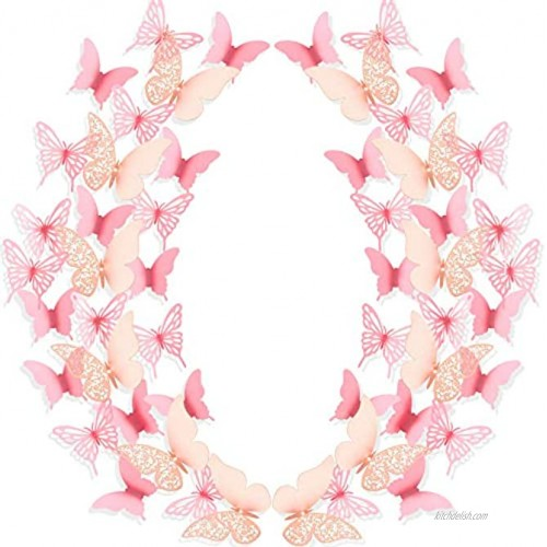 144 Pieces 3D Butterfly Wall Stickers Removable Hollow Butterfly Mural Decals DIY Decorative Wall Art Crafts for Home Wedding Decor 3 Styles Pink