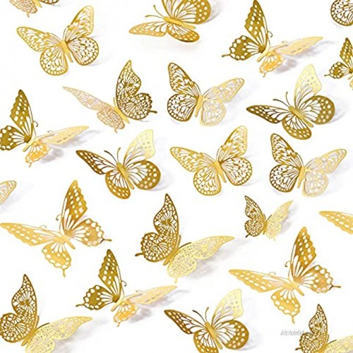 3D Butterfly Wall Stickers 48 Pcs 4 Styles 3 Sizes Removable Metallic Wall Sticker Room Mural Decals Decoration for Kids Bedroom Nursery Classroom Party Wedding Decor DIY Gift Gold