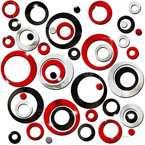 72 Pieces Acrylic Circle Mirror Wall Stickers Removable Round Dots Mirror Wall Decals Wall Decoration Murals for Home Living Room Bedroom Decor Silver Red Black