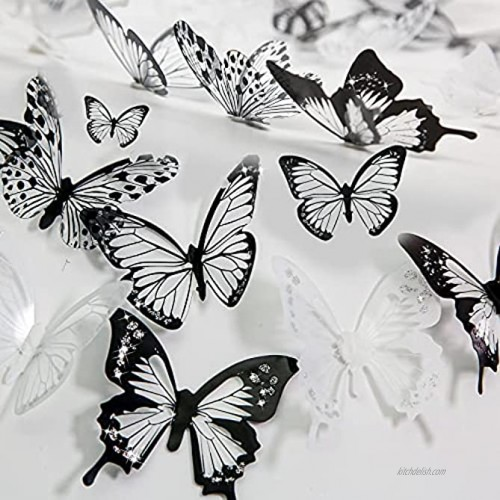 Aulynp 72 Pcs 3D Butterfly Wall Decor Stickers Black White Removable Butterfly Wall Decals Window Furniture Party Birthday Wedding Decoration for Bedroom Living Room Decors with Sticky Dots