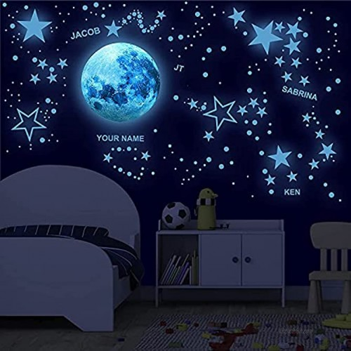 Customizable Glow in The Dark Stars for Ceiling with Alphabet!- Glow in the dark wall decals Including glow stars and the moon Glow in the dark stickers for ceiling perfect for kids room decor Glow in the dark kids alphabet perfect for learning
