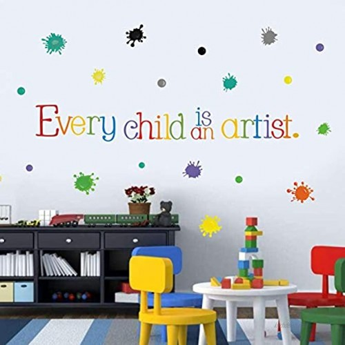 Every Child is an Artist Wall Decal Watercolor Paint Splash with Dots Sticker for Classroom Decoration,Colorful Sticker Home Wall Art