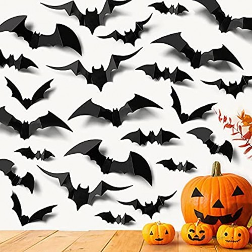 Ivenf 100 Pcs Halloween Decorations Indoor 3D Bats Wall Stickers 5 Size & 5 Design for Home Decor Extra Large Black Scary Bats Window Door Porch Decals Outdoor for Halloween Eve Party Supplies
