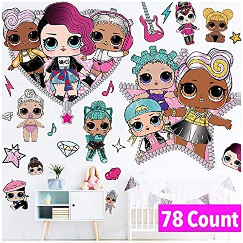 LOL Girls Wall Decals Art Stickers Decor LOL Girl Wall Decorations for Girls Kids Bedroom Nursery Birthday Party Room Home Decor Large Size