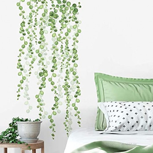 RoomMates RMK3903SCS String of Pearls Vine Peel and Stick Wall Decals 2 Sheets at 9 Inches x 36.5 Inches Green White