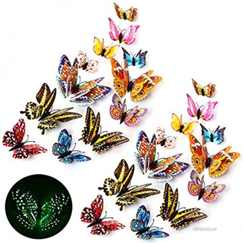 Stardo 3D Butterfly Wall Stickers Decor 24 Pcs Luminous Colorful Butterfly Wall Decals for Kids Girls Baby Women Bedroom Living Room Wall Art Decor Removable Mural Sticker Butterflies Wall Art Decorations