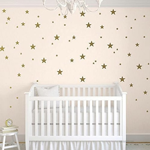 TOARTi Stars Wall Decals 124 Decals Wall Stickers Removable Home Decoration Easy to Peel Stick Painted Walls Metallic Vinyl Polka Wall Decor Sticker for Baby Kids Nursery Bedroom Gold Stars