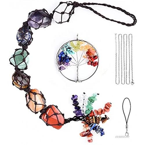 7 Chakras Stones Crystal Car Hanging Ornament Handmade Gemstone Decor Car Wall Luck with Tree of Life Decoration Key Chain