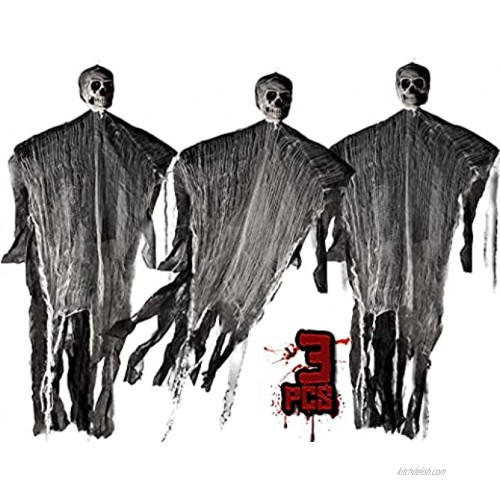 KKEATOY 3 Pack Halloween Hanging Skeleton Ghost for Scary Decorations Grim Reaper 43 Inches for House Decor Window Wall and Outdoor Indoor Yard Patio