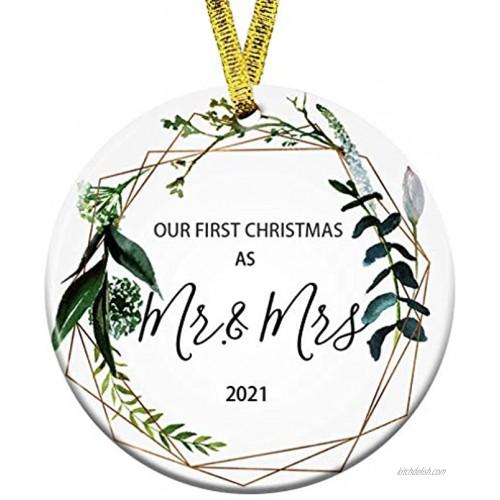 Kooer First Christmas as Mr Mrs Ornament 2021 Wedding Shower Gift 2021 Wedding Ornament Mr & Mrs