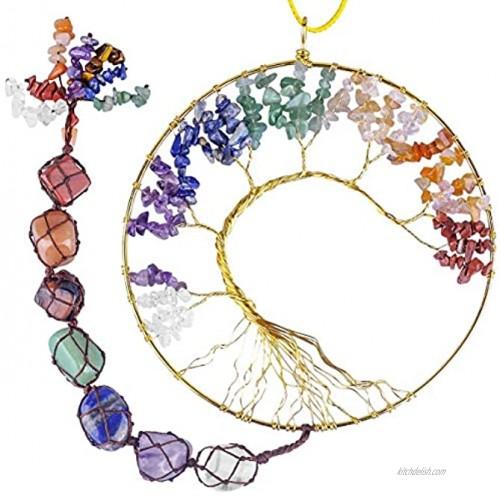 rockcloud 7 Chakras Stones Crystals Tree of Life Wall Hanger Tumbled Gemstones Meditation Hanging Ornament Window Ornament Wedding Souvenir Home Decor