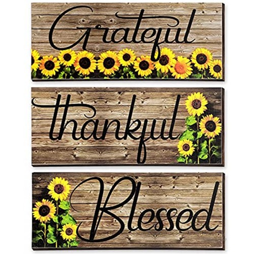 3 Pieces Sunflower Prints Wood Hanging Wall Plaques Grateful Thankful Blessed Wall Art Signs Sunflowers Spring Autumn Positive Sign Wall Art Decor for Bedroom 10 x 4 x 0.2 Inch Black Words