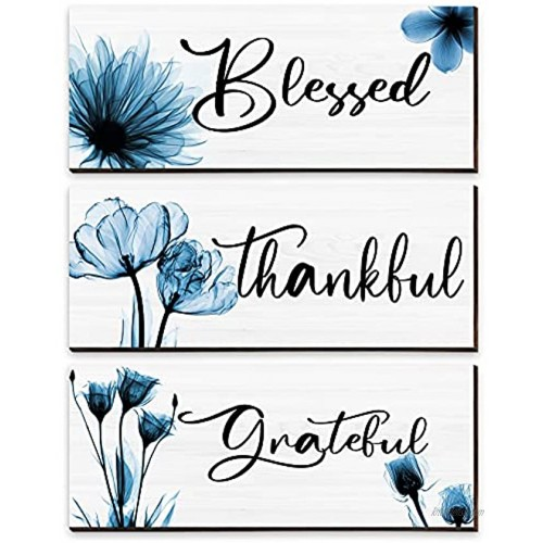 3 Pieces Thankful Grateful Blessed Wood Sign Wall Decor Positive Word Wooden Wall Plaque with Blue Flower Thanksgiving Quote Hanging Wall Sign Rustic Farmhouse Thankful Wall Art for Dining Living Room