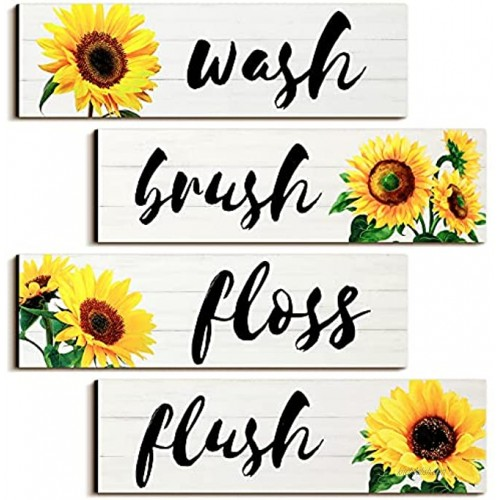 4 Pieces Bathroom Wall Decor Signs Wash Brush Floss Flush Sunflowers Signs Rustic Bathroom Wooden Signs Sunflower Wood Wall Plaque Vintage Wooden Decor for Laundry Room Bathroom White