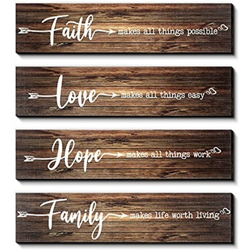 4 Pieces Rustic Wood Sign Wall Decor Faith Makes All Things Possible Quote Sign Rustic Love Hope Family Wood Sign Home Decoration for Home Office Wedding Kitchen 13 x 3 x 0.2 Inch Brown