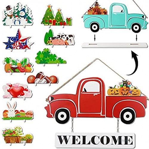 AerWo Interchangeable Welcome Sign for Front Porch Red Truck Decor Wood Double Sided Home Sign Wall Hanging Decor with 12-PC Holiday Icons for Fall Halloween Christmas Thanksgiving Table Decor