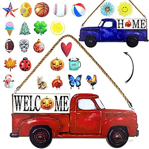 AliveCotruck Red Truck Welcome Home Sign for Front Door Porch 2-Side Holiday Farmhouse Wooden Decor Wall Hanging with 25-PC Interchangeable Icons Fall Seasonal Halloween Christmas Rustic Decorations