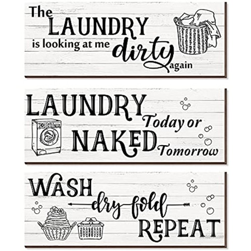 Chilaral 3 Pieces Wooden Funny Sign Wall Plaque Wash Dry Fold Repeat Laundry Sign Vintage Wood Laundry Sign Rustic Farmhouse Laundry Sign Laundry Rules Sign for Laundry Room Bathroom Decoration