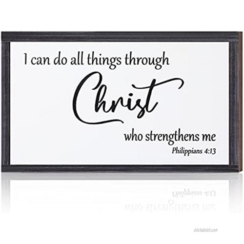 Inspirational Wooden Hanging Wall Plaque Christian Wall Art I can do All Things Through Christ who Strengthens me Religious Wood Bible Verse Sign Decor for Living-room Bedroom 10 x 6 x 0.2 Inch