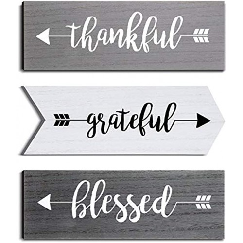 Jetec 3 Pieces Thankful Grateful Blessed Wooden Signs Hanging Wall Signs Rustic Wall Art Decor Welcome Plaque Sign for Farmhouse Outdoor Decor Gray White Dark Gray