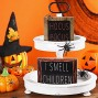 Jetec Halloween Hocus Pocus Wood Block Sign and I Smell Children Wooden Sign Rustic Halloween Tiered Tray Decor for Halloween Party Home Decor