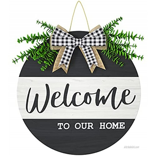 Welcome Sign for Front Door Porch 12x12 Inch ZUEXT Rustic Wooden Welcome To Our Home Sign for All Seasons Wall Home Decor Black & White Farmhouse Wood Welcome Door Hanger w  Artificial Eucalyptus