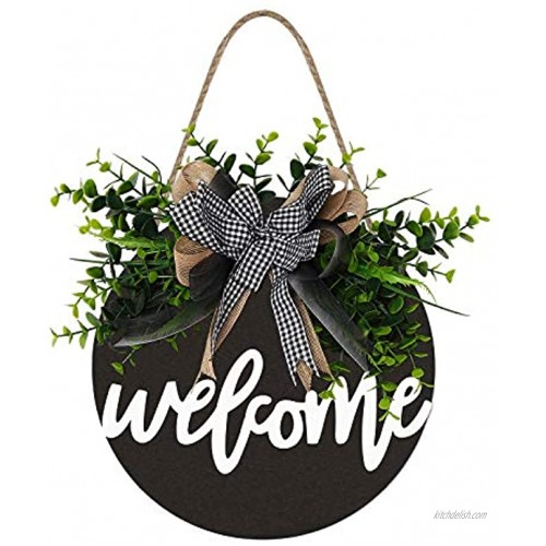 Welcome Sign Welcome Front Door Round Wood Sign Hanging Welcome Sign for Farmhouse porch Spring Welcome Sign Front Door Decoration (Blackboard welcome)