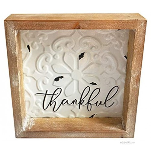 Wood Metal Thankful Sign 8x8 inch Framed Rustic Embossed Enamel Home Table Decor Signs Distressed Farmhouse Wooden Box Sign Gift for Shelf Mantel Living Dining Room Bedroom Kitchen Decoration