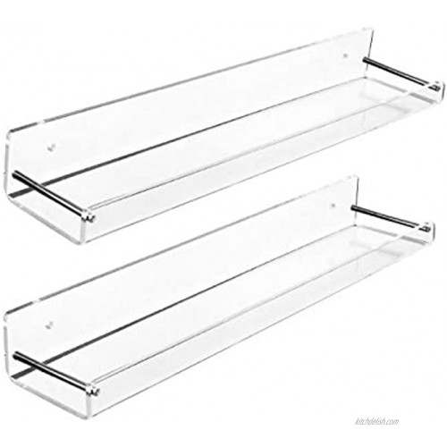 AMT 2 Pack Acrylic Floating Shelves 15 L x 3.25 W Clear Bathroom Wall Shelf Bookshelves Invisible Display for Office Bedroom Small Gap Allows Water to Escape Free Screws & Drill Bit Medium