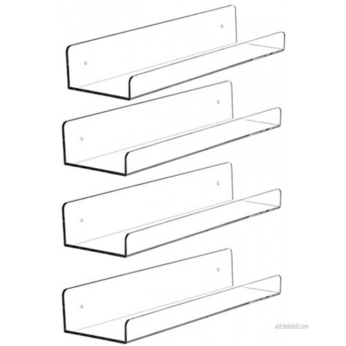 Cq acrylic 15 Invisible Acrylic Floating Wall Ledge Shelf Wall Mounted Nursery Kids Bookshelf Invisible Spice Rack Clear 5MM Thick Bathroom Storage Shelves Display Organizer 15 L,Set of 4